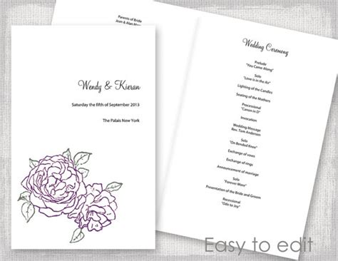 wedding program template amethyst purple and green quot peony