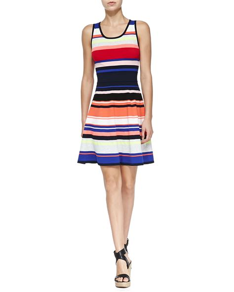 Striped Sleeveless Dress milly sleeveless striped flared dress in multicolor color