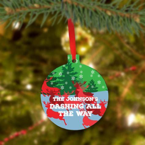 tree personalized ornaments custom gifts family reindeer tree ornament
