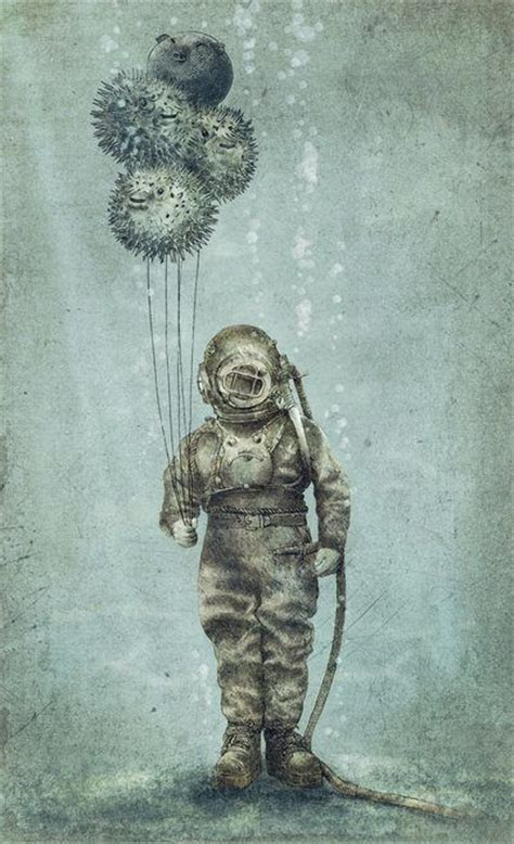 Cute Home Decor Websites by A Man In An Antique Diving Suit Holds Puffer Fish As