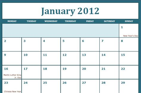 templates free 2012 january 2012 calendar images