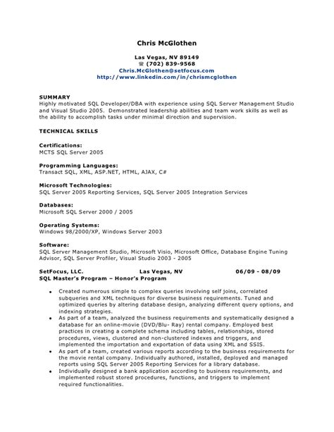 sql dba resume sle 28 images sql dba resume for 1 year