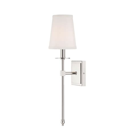 One Light Wall Sconce Polished Nickel One Light 5 Inch Wide Wall Sconce Savoy House 1 Light