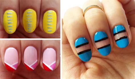 Easy Nail Art Using Stripers | easy beginner nail art 3 line designs using nail striper
