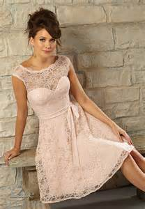lace dresses in different tones of blush color for party