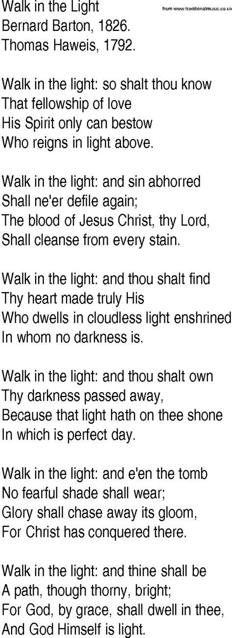 i am the light of the hymn hymn and gospel song lyrics for walk in the light by