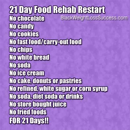 21 Day Junk Food Detox by May 2014 Challenge 21 Day Food Rehab Restart Black