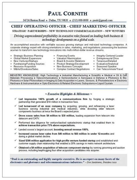 cmo resume for executive with awesome exp securing