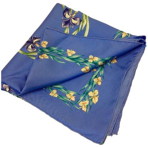 hermes light blue silk floral scarf for sale at 1stdibs