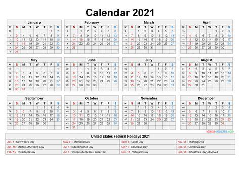 printable yearly  calendar  holidays  word