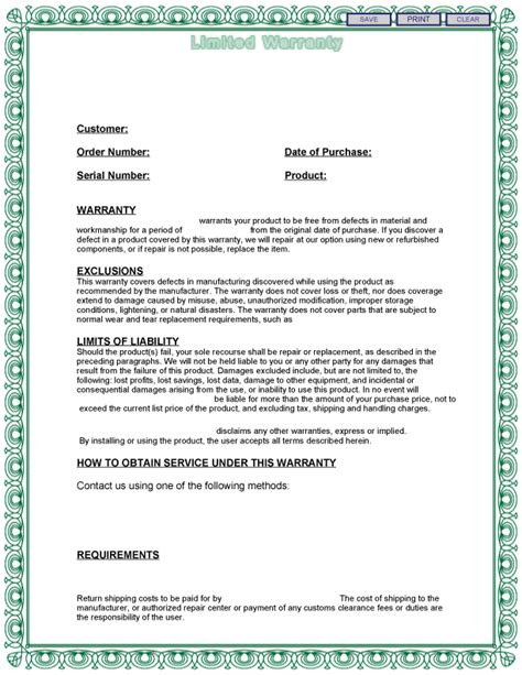 warranty agreement template warranty template free printable documents