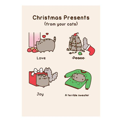 Pusheen Birthday Card Pusheen Christmas Presents From Your Cat Greeting Card