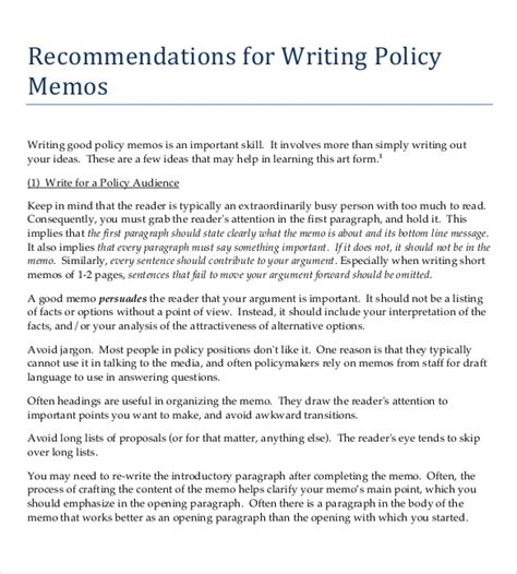template for writing a memo policy memo template 15 word pdf docs