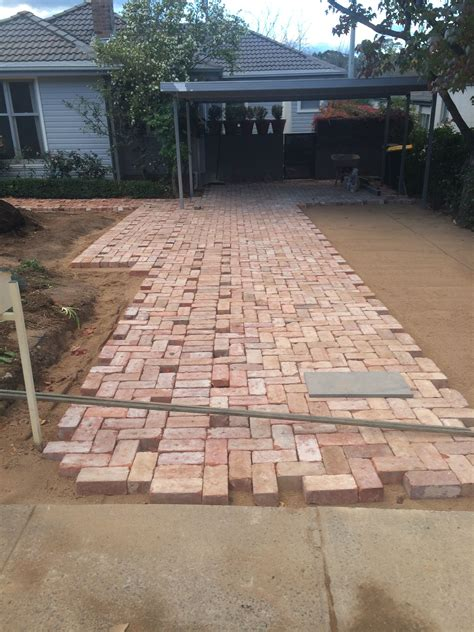 brick driveway driveway paving using canberra bricks recycled