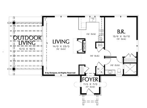 one bedroom cottage plans simple one bedroom house plans home plans homepw02510