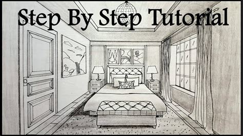 draw  bedroom   point perspective step  step youtube