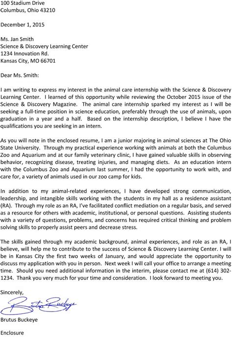 cover letter for undergraduate cover letters department of animal sciences