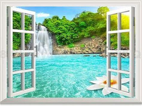waterfall lotus pool forest  window view removable wall