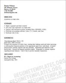 Resume Templates For Bank Teller by Bank Teller Resume Template Banking Resume Sles
