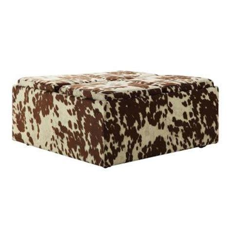 cowhide storage ottoman homesullivan cowhide print storage ottoman 40468pf23 3a