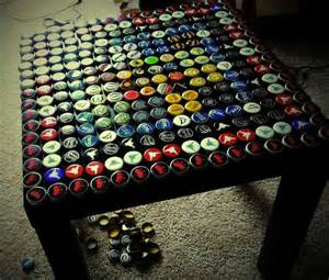 coffee table with left bottle caps