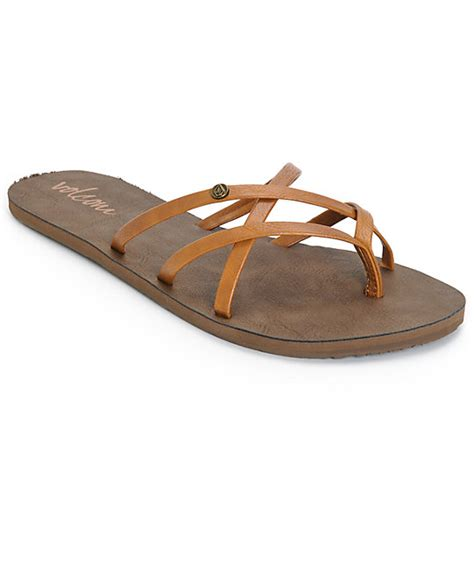 volcom new school sandals volcom new school cognac sandals