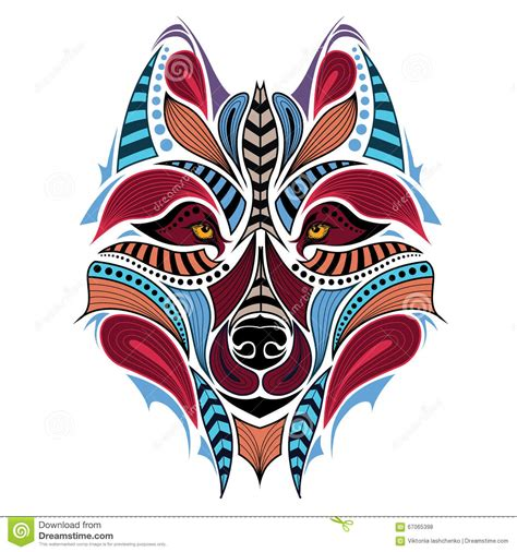 patterned colored of the indian patterned colored of the wolf indian