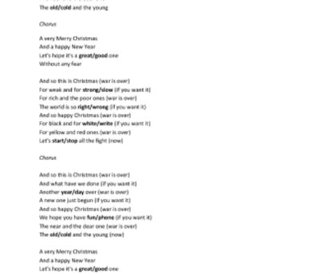 lennon merry testo song worksheet happy by lennon