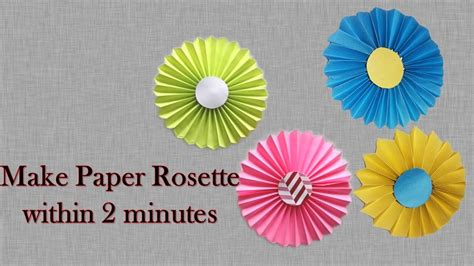 How To Make Paper Rosettes - how to make rosette flower 5 minutes origami rosette