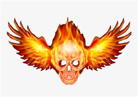 alas de fuego 8445002880 caveira com asas a chama o terror recuperar png para download gratuito