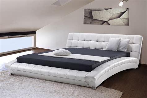 White Leather Sleigh Bed Frame White Modern King Size Bed Frame Sleigh 6 Ft Genuine Leather Headboard Ebay