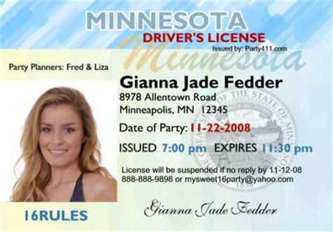 Drivers License Lookup Personalized Driver S License Invitations And Birth Announcements