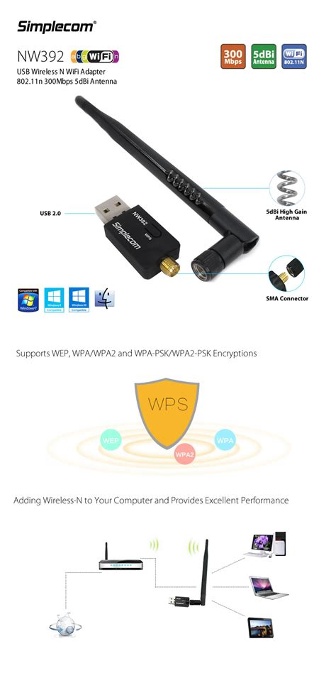 simplecom nw392 usb wireless n wifi adapter 802 11n 300mbps 5dbi antenna
