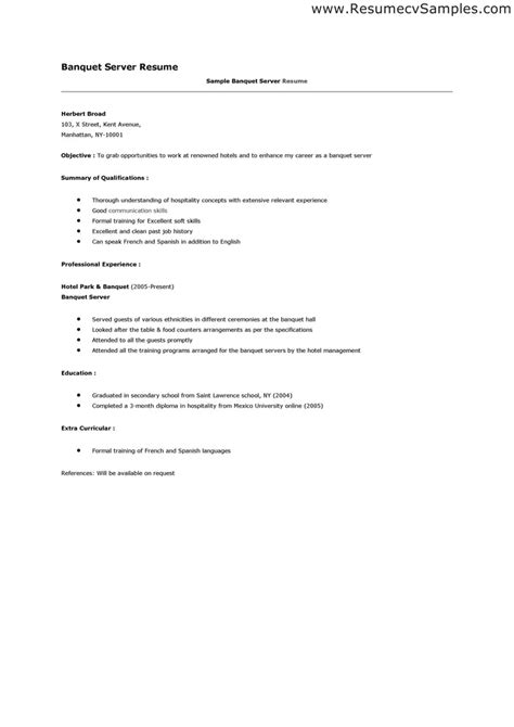 Resume Templates For Server Position Banquet Server Resume Sle Cocktail Server