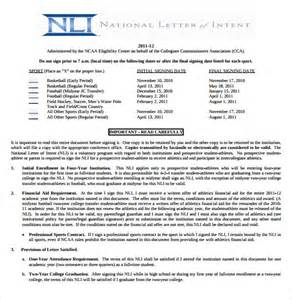 National Letter Of Intent Without Scholarship Ncaa Letter Of Intent Release Form Docoments Ojazlink