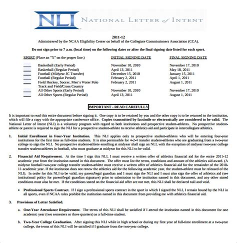 College Letter Of Intent Football sle national letter of intent 7 free documents in pdf word