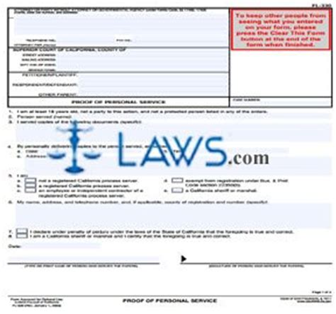 service in laws california proof of personal service california forms laws