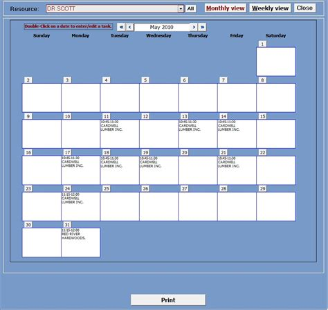 Appointment Planner Ms Access Templates Microsoft Access Calendar Template