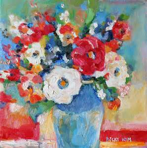 flowers in blue vase 1 painting by becky