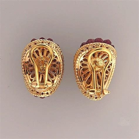 ruby faceted bead clip post earrings at 1stdibs