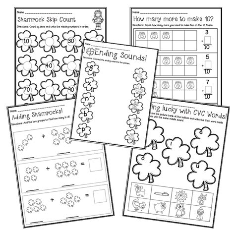 Math Center Worksheets by St S Day Math And Literacy Centers With Printable