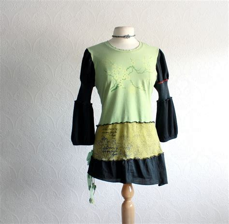 upcycled clothing s green shirt black by