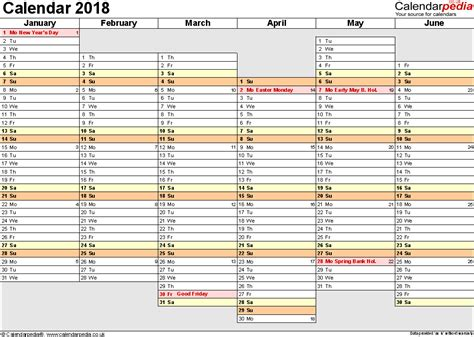 Excel Calendar 2018 Uk 16 Printable Templates Xlsx Free Yearly Planner Template 2018