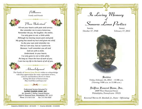 obituary program template free funeral programs template it resume cover letter sle