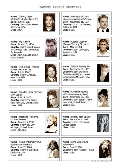 esl biography exercise 75 free esl famous people worksheets