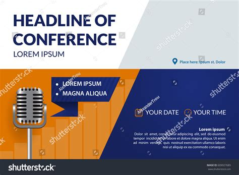 conference banner template business conference invitation concept retro microphone