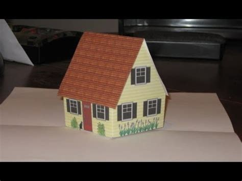 Make Pop Up Cottage Card With Narration Also Gingerbread House Youtube Pop Up House Card Template