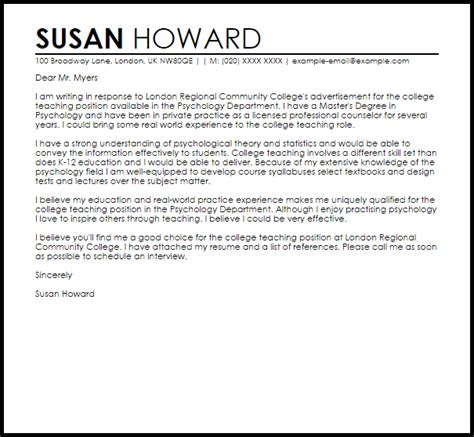 Cover Letter Practice - Sample Cover Letter For A College Teaching ...