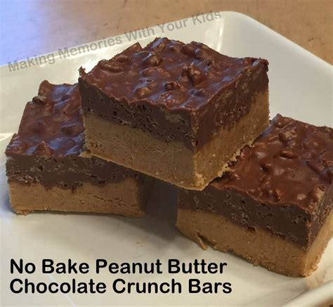 no bake peanut butter bars with chocolate on top no bake peanut butter chocolate crunch bars making