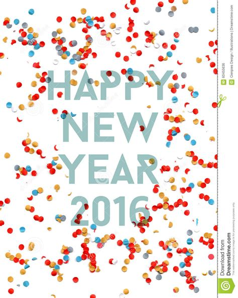 free new year card template 2016 happy new year 2016 confetti poster stock